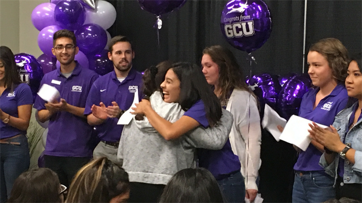 Grand Canyon University surprised 25 students with scholarships on Tuesday. (Source: 3TV/CBS 5)