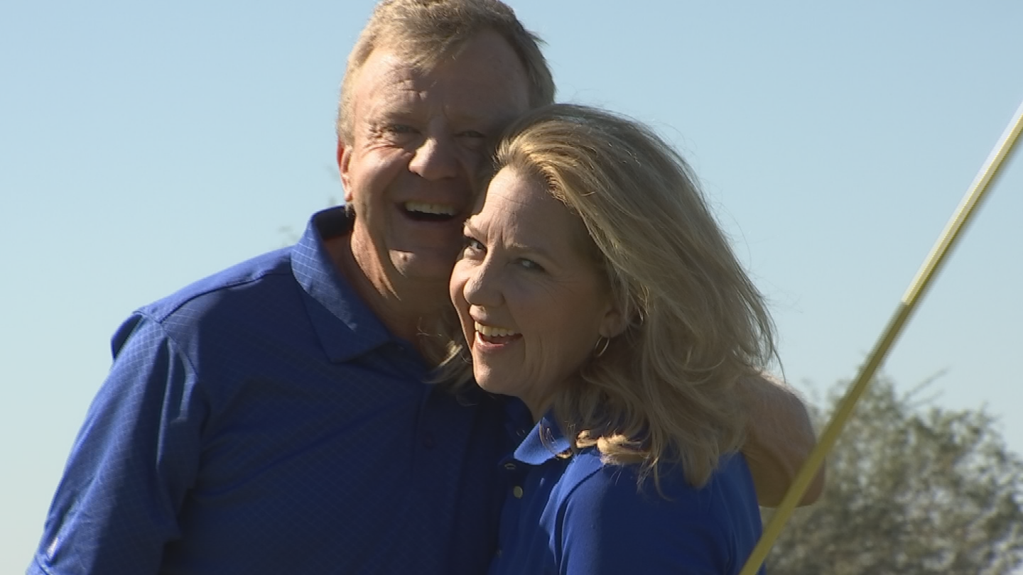 Before the British Senior Open, he decided on 'employing' a new caddy he knew quite well – his wife Tami. (Source: 3TV/CBS 5)