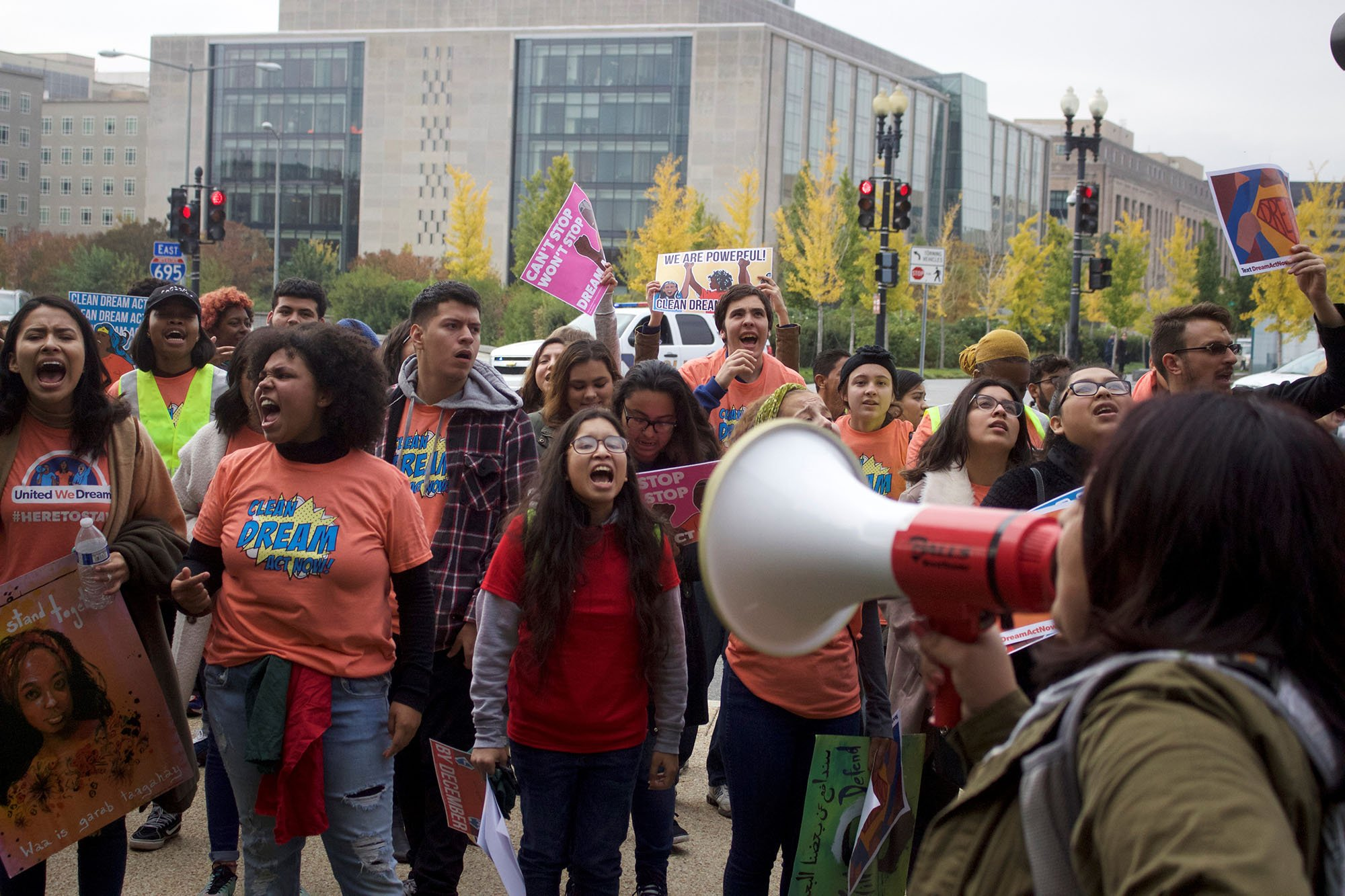 After rallying in the Hart Senate Office Bulding, protesters marched across the Capitol grounds and gathered on the West Front of the Capitol, where they continued their rally in support of DACA. (Photo by Andrew Nicla/Cronkite News)