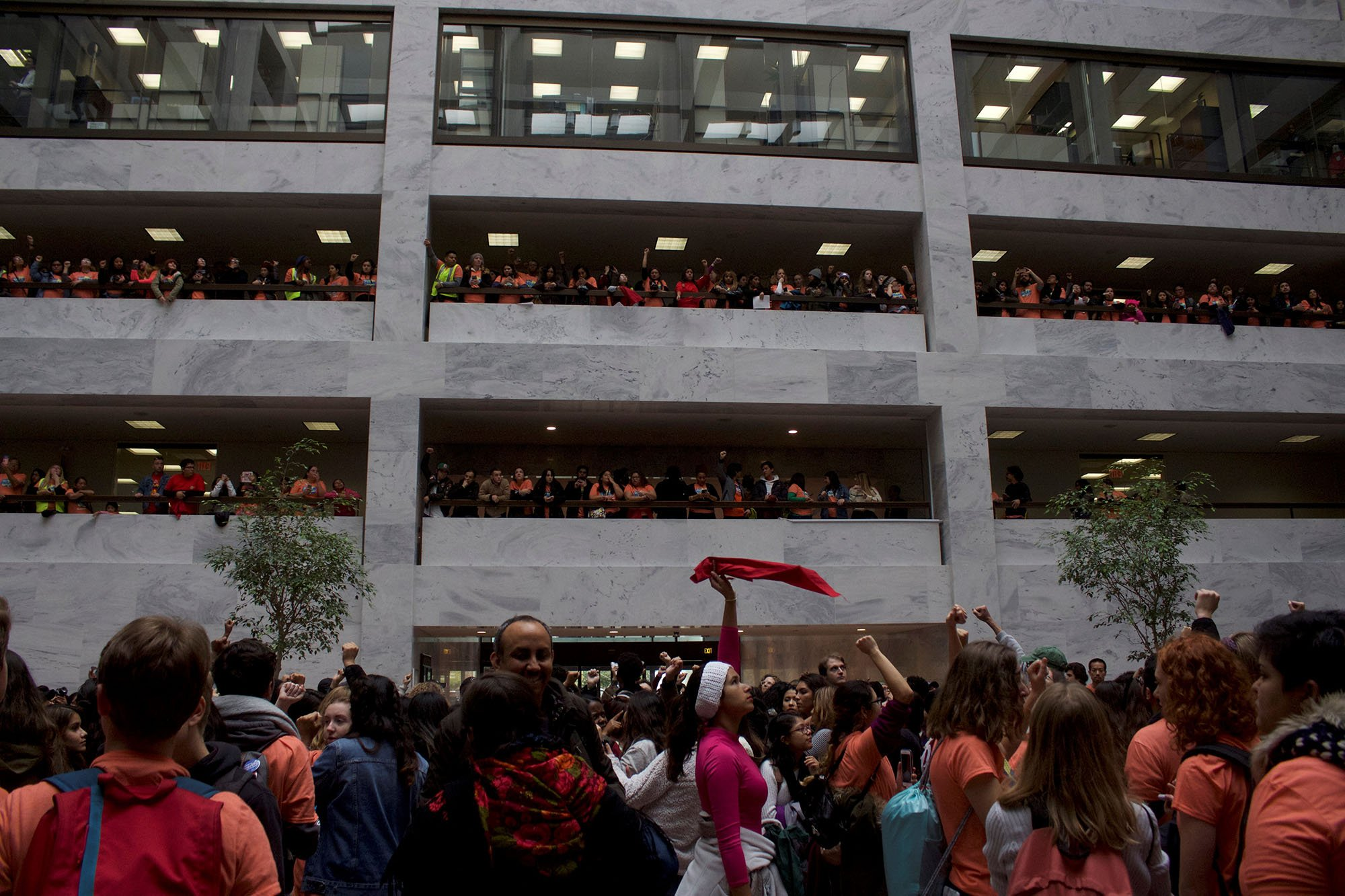 "Protesters calling for a vote on a ""clean"" Dream Act packed the atrium of the Hart Senate Office Building and lined the balconies while curious staffers looked out office windows at the protect. (Photo by Andrew Nicla/Cronkite News)"