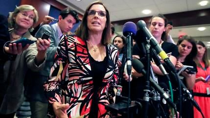 In this June 14, 2017 file photo Rep. Martha McSally, R-Ariz. speaks to reporters on Capitol Hill in Washington. (Source: AP Photo/Manuel Balce Ceneta,File)