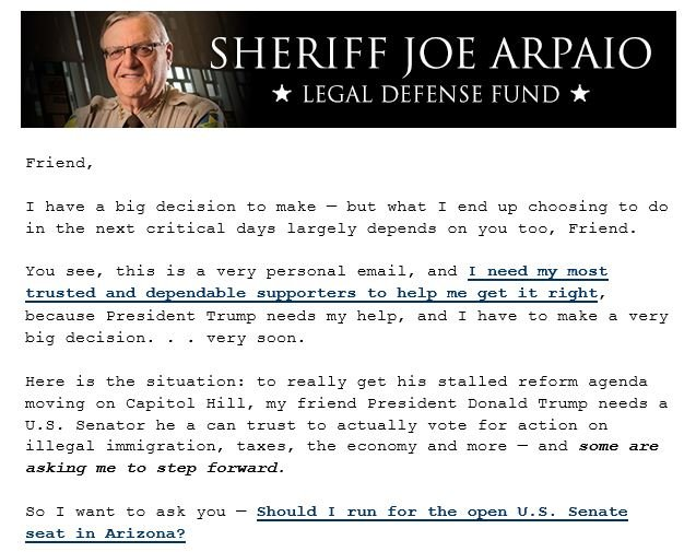 (Source: Email from www.sheriffjoelegaldefensefund.com)