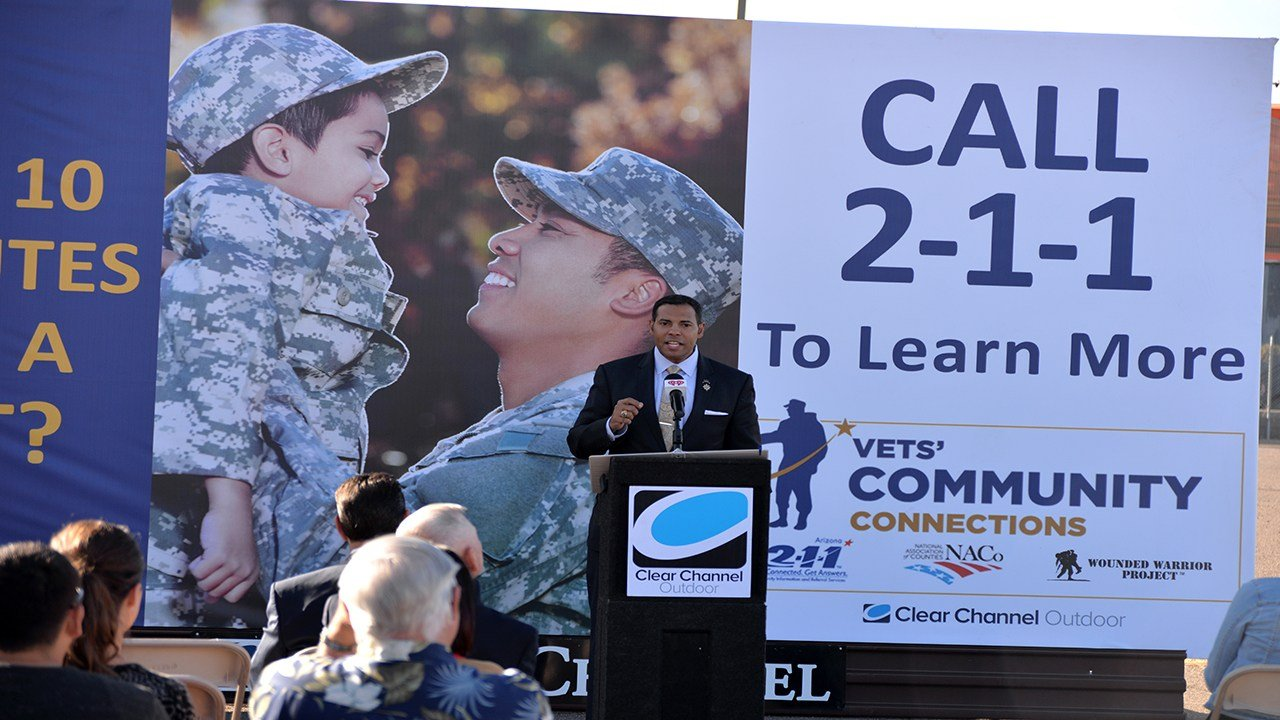 "Clear Channel Outdoors held a press conference for the launch of ""Got Ten Minutes for a Vet?"" billboard campaign. (Source: Clear Channel Outdoors)"