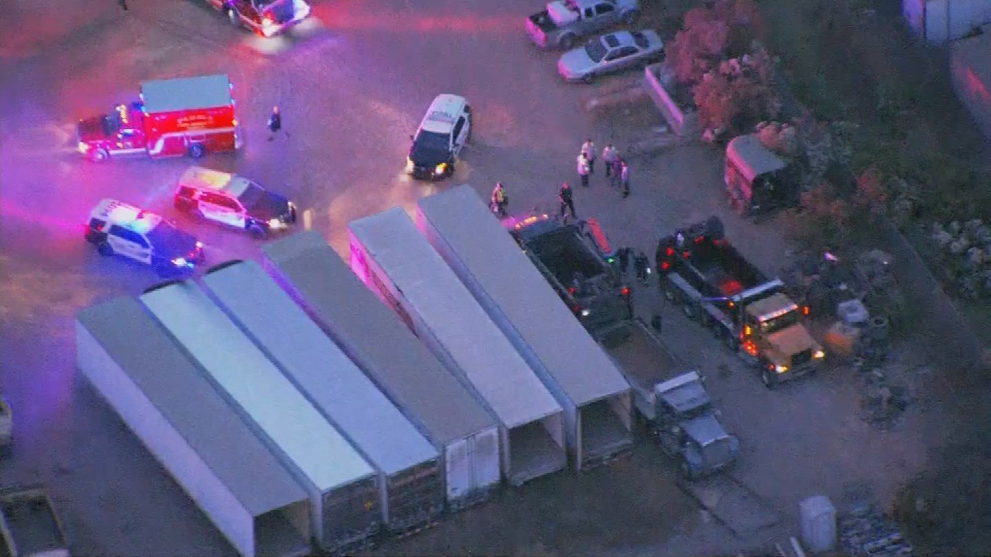A man later died after being pinned between two dumptrucks in Peoria early Monday morning. (Source: 3TV/CBS 5)