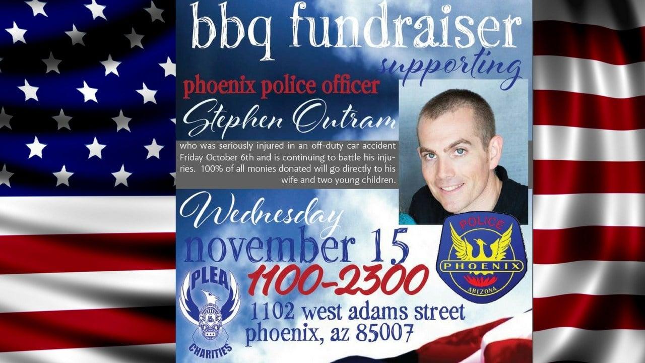 BBQ Fundraiser for officer Stephen Outram. 13 Nov. 2017 (Source: 3TV/CBS 5 News)