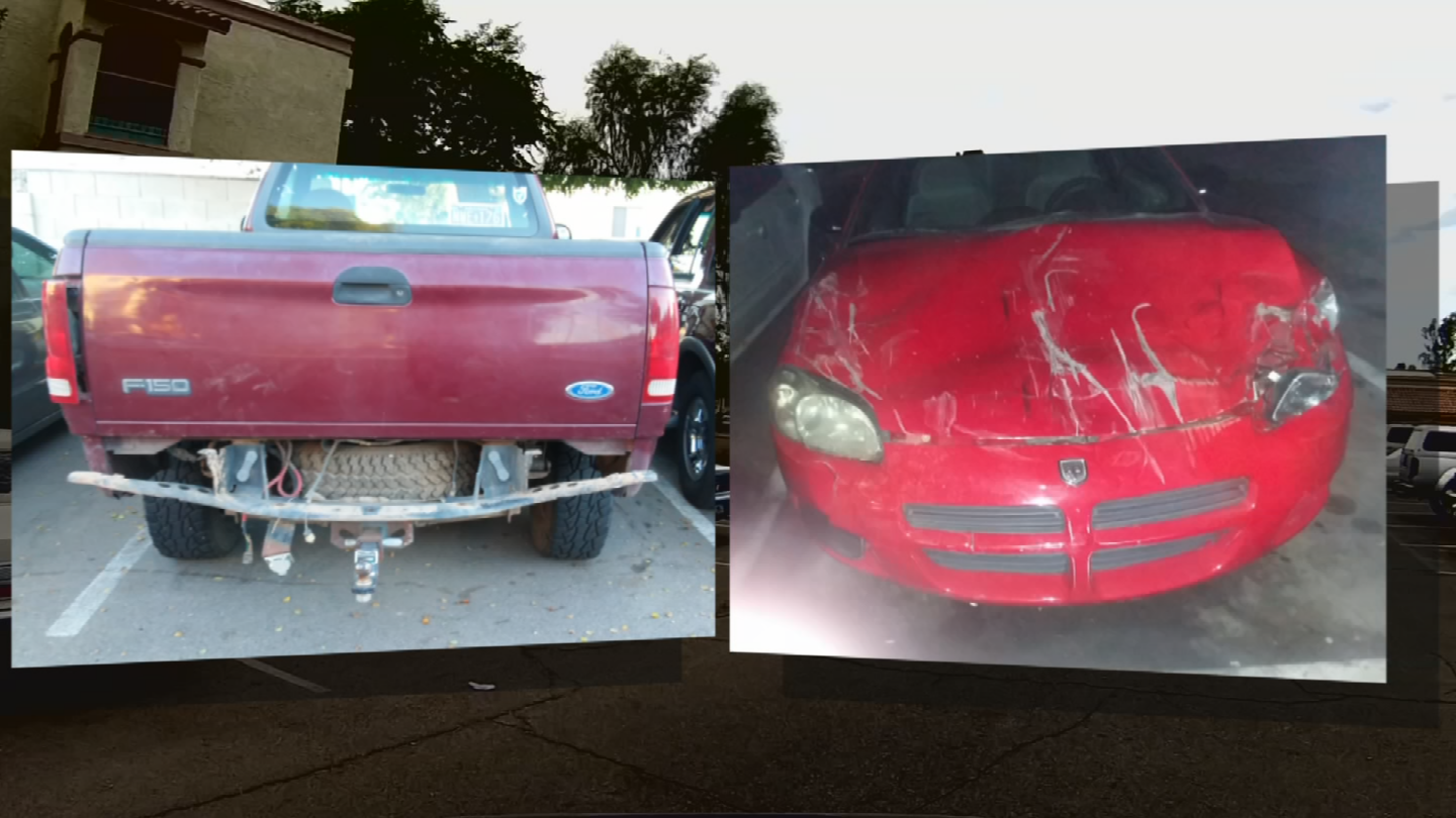 Morgan says a red car belonging to another tenant had plowed into her parked truck. (Source: CBS 5)