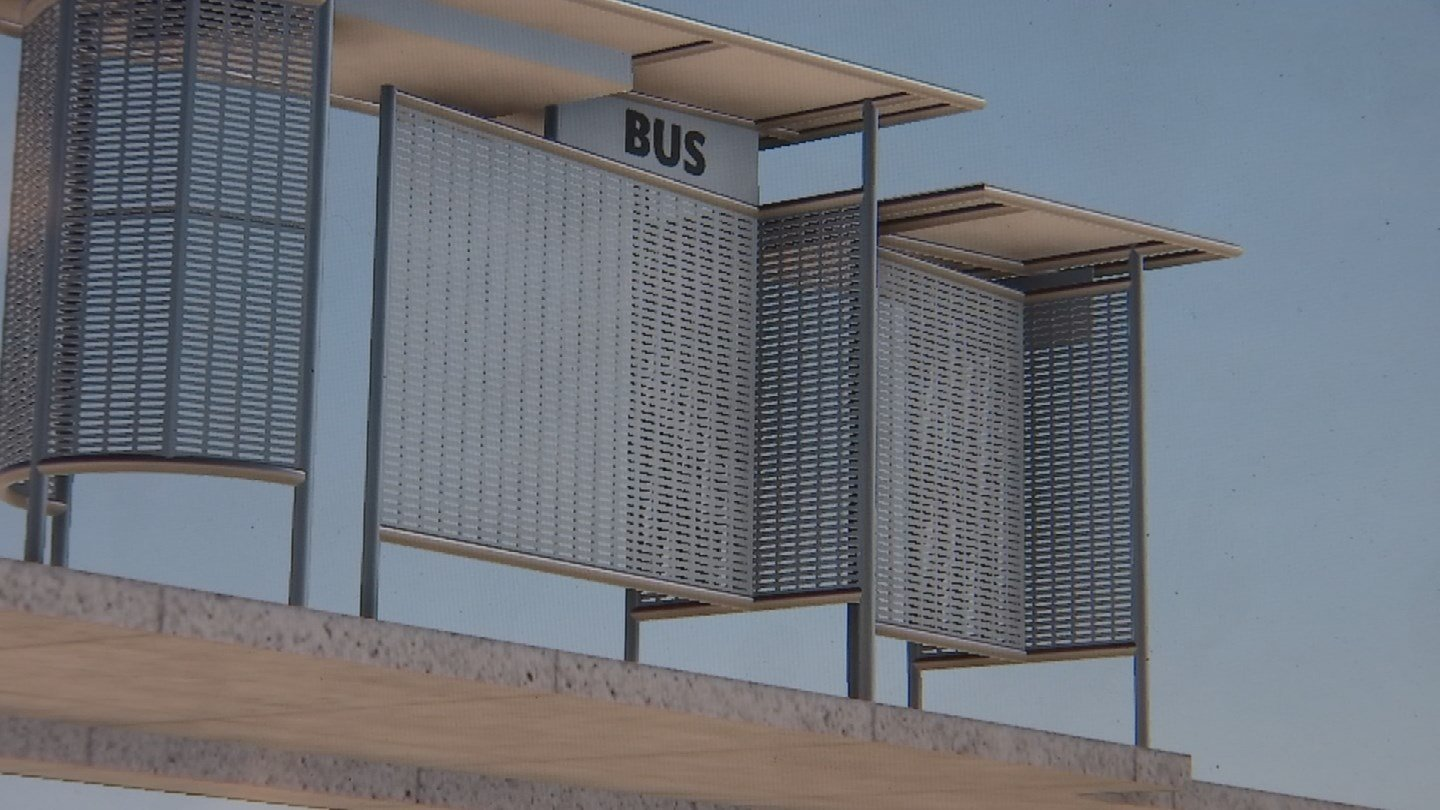 New bus stop design keeps riders in the shade. 13 Nov. 2017 (Source: 3TV/CBS 5 News)