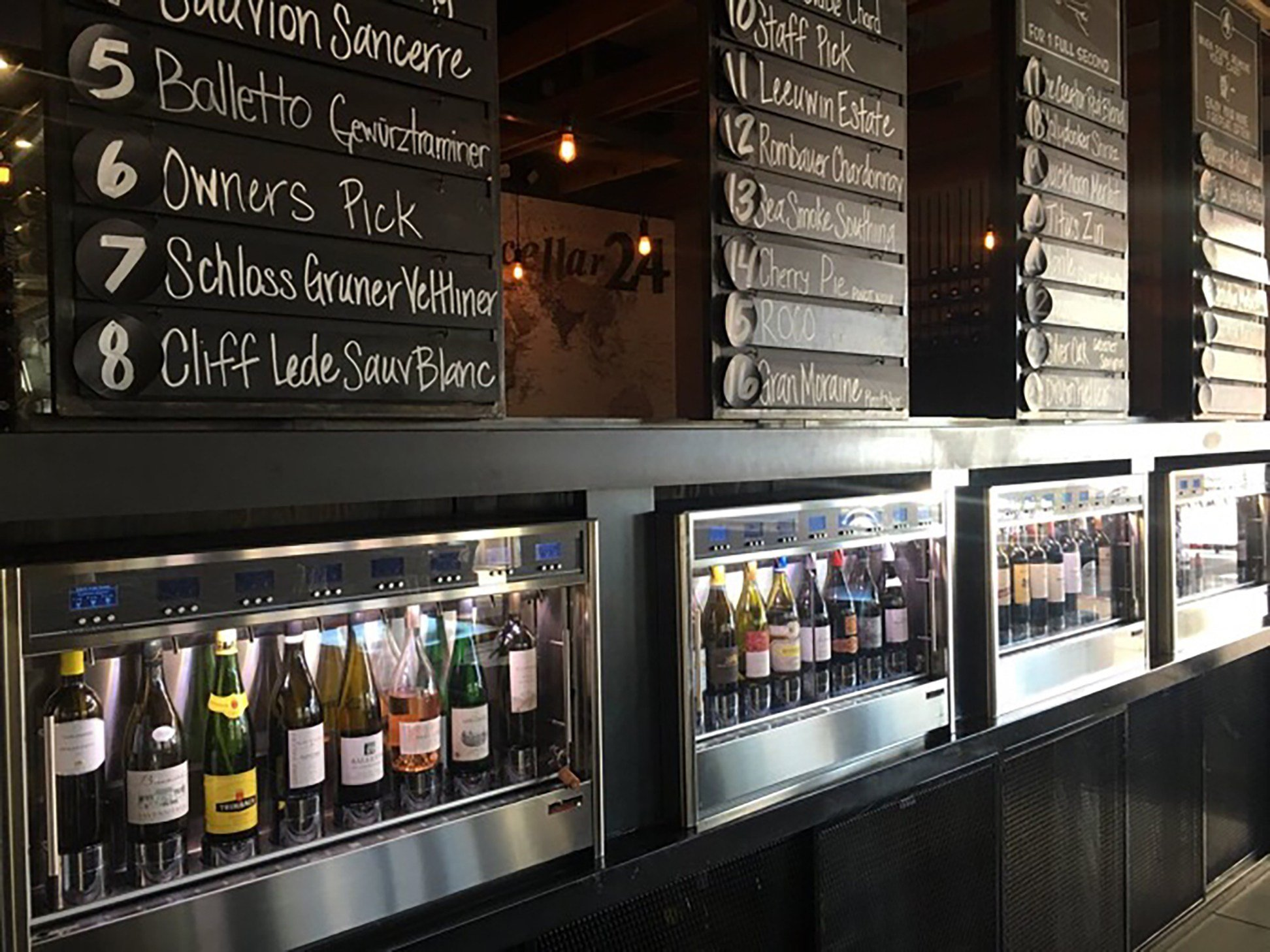 Since opening a few years ago, Sorso Wine Room in Scottsdale has featured an automated wine dispenser that allows customers to choose from up to 32 wines from around the world. (Photo:Tim Johns/Cronkite News)