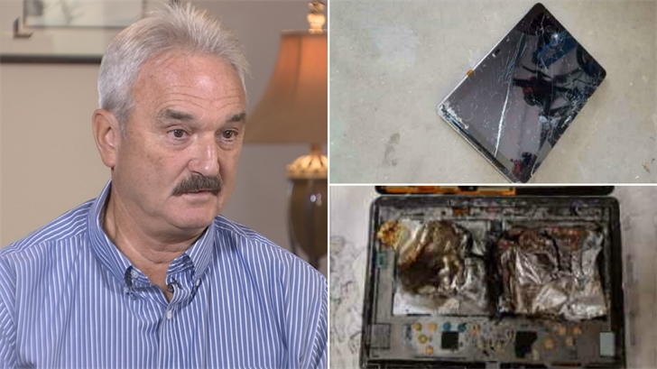 Bob LeBrec said his Galaxy Note exploded but Samsung wouldn't give him a new tablet. (Source: 3TV)