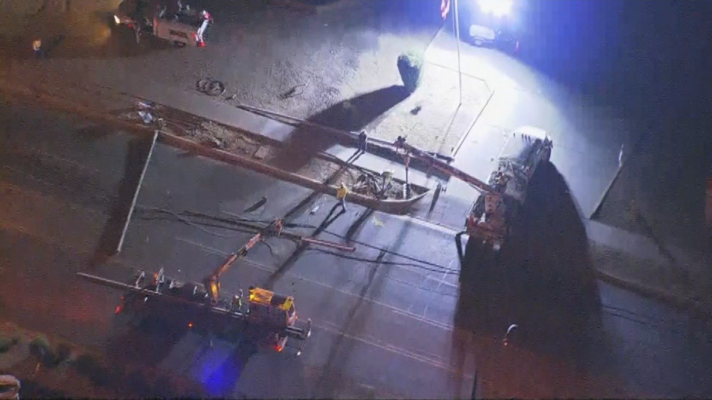 A major Phoenix street is closed after a car downed some power poles in a hit-and-run accident early Wednesday morning. (Source: 3TV/CBS 5)