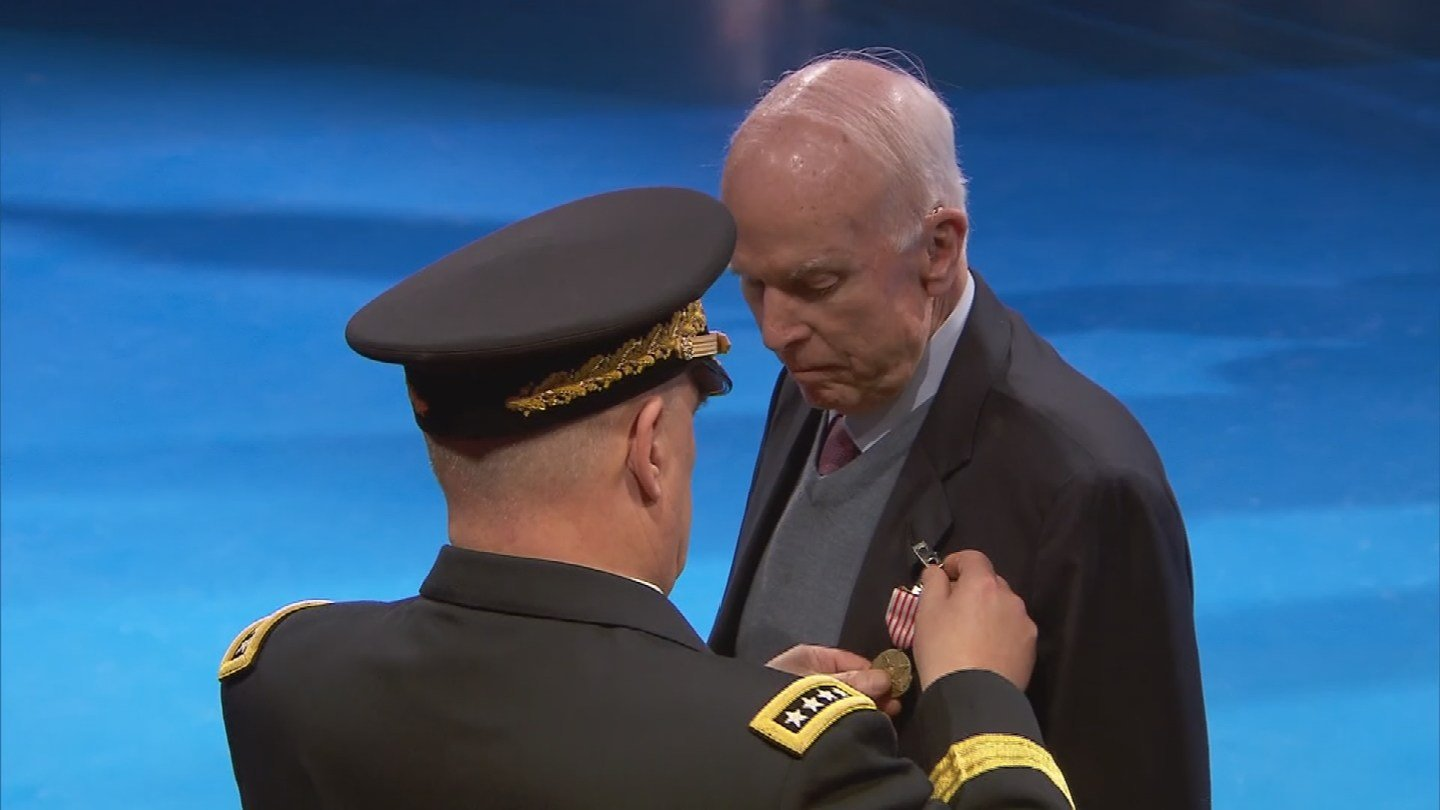 """Arizona Sen. John McCain was honored at """"Salute to the Chief"""" for his 63 years of service to the nation and U.S. Navy Wednesday. (Source: 3TV/CBS 5)"""