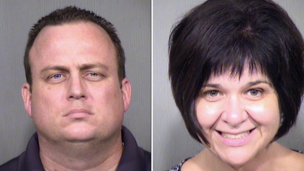 Mugshots of Roland Jones (left), Cassandra Yusko-Jones, parents of missing Madeline Jones who was last seen with her son, William Jones-Gouchenour in Mesa. (Source: Maricopa County Sheriff's Office)