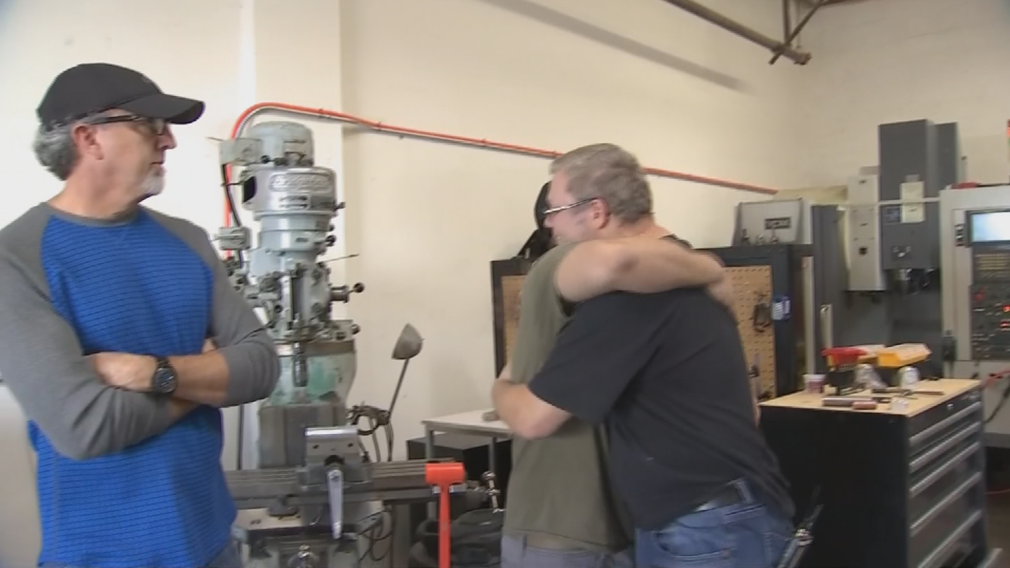 Former TechShop instructors Steve Ricks and Jack Chin helped him out. (Source: 3TV/CBS 5)