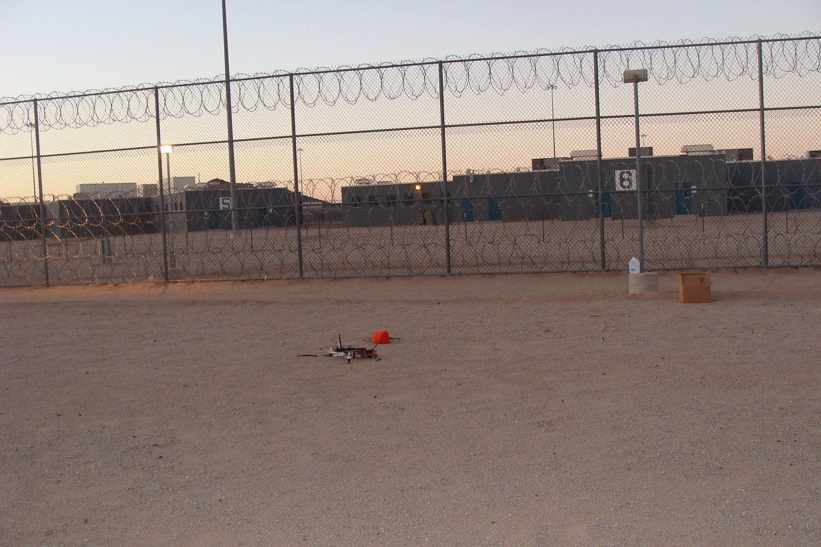 "The homemade drone crashed in a ""no man's land"" security zone. (Source: AZDOC)"