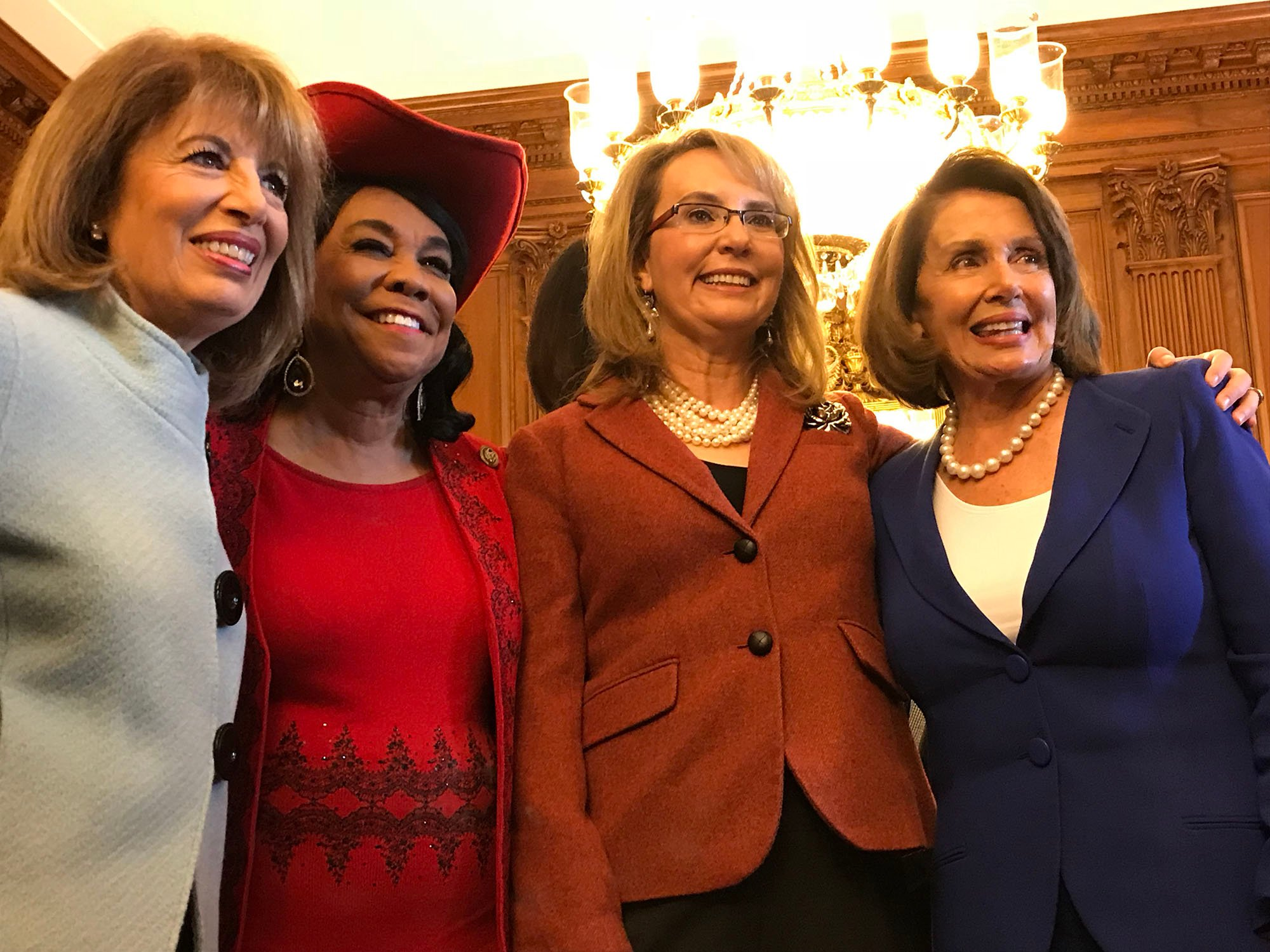Democratic Reps. Jackie Speier of California and Frederica Wilson of Florida, former Arizona Rep. Gabrielle Giffords and House Minority Leader Nancy Pelosi at the event to honor Giffords and the late Leo Ryan Jr.(Source: Trevor Fay/Cronkite News)