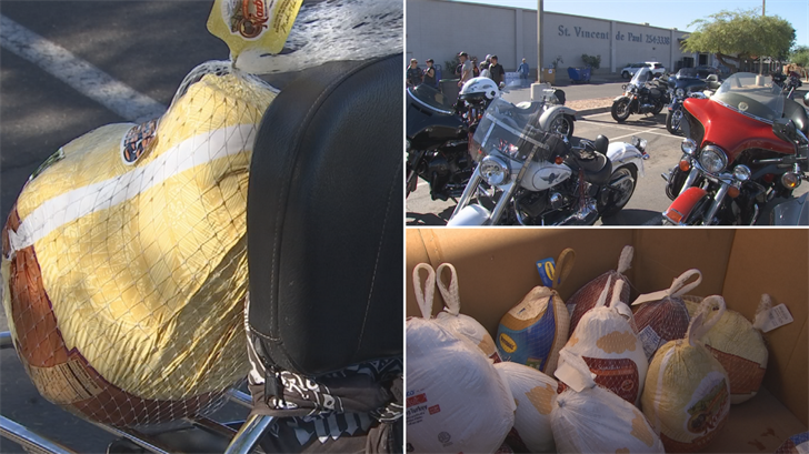 A group of motorcyclists delivered turkeys to St. Vincent de Paul. (Source: 3TV/CBS 5)