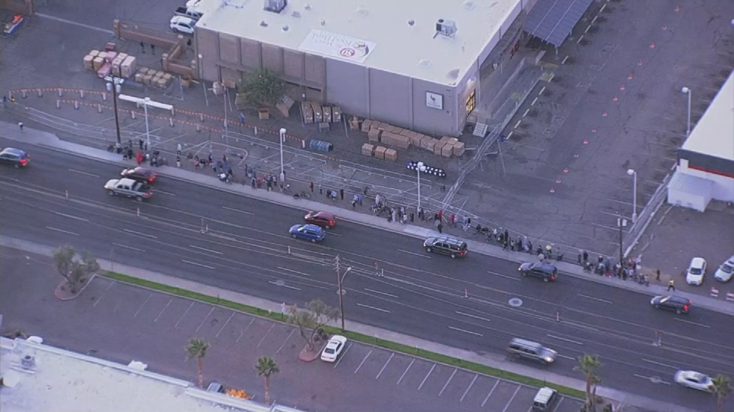 The food is being distributed at St. Mary's Knight Center, across the street from the food bank warehouse. (Source: 3TV/CBS 5)