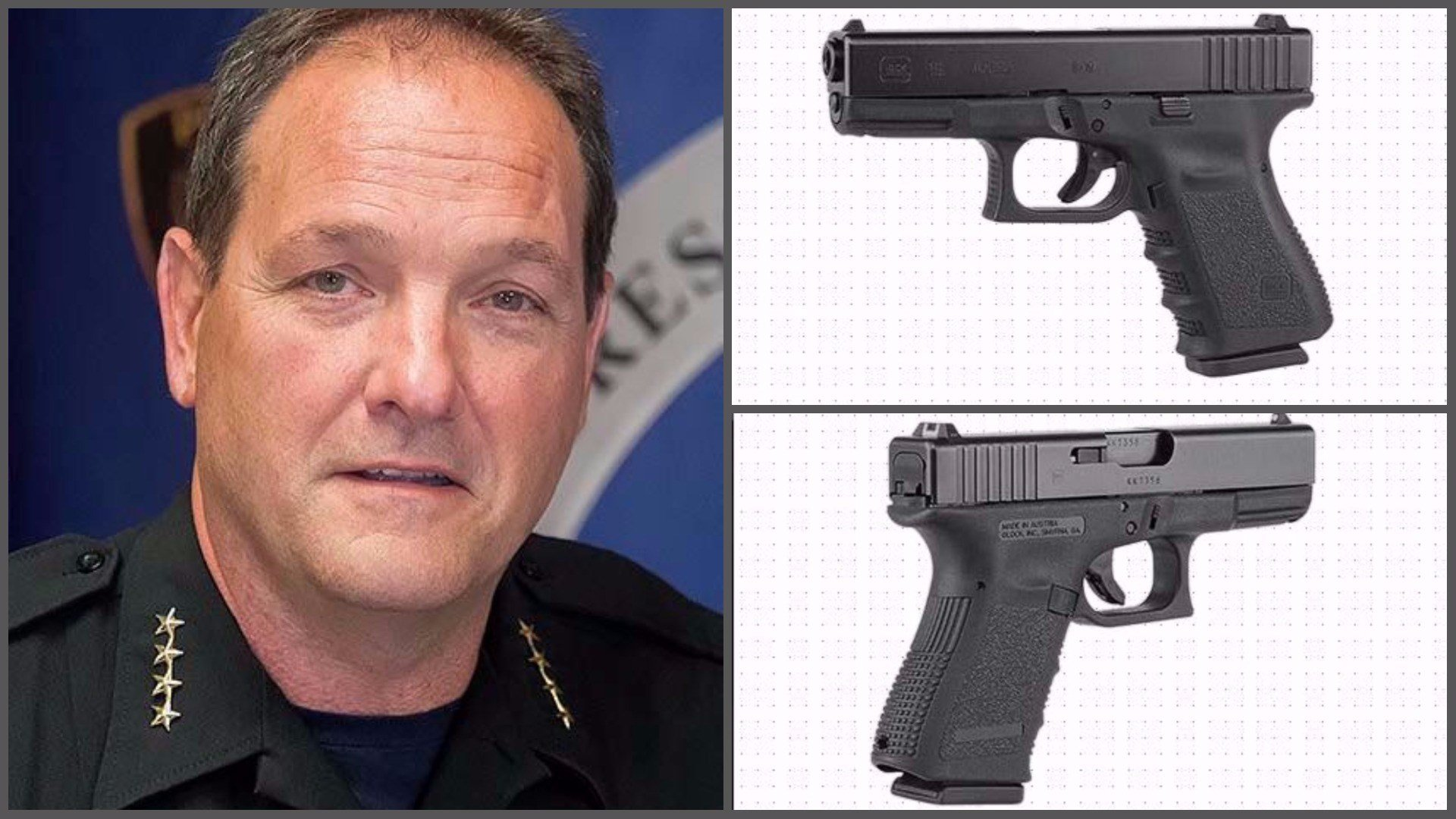 Prescott Valley Police Chief Bryan Jarrell left his Glock 19, similar to the one pictured in these images from the Glock website, in a public restroom more than a week ago. (Source: PVAZ.net and us.Glock.com)