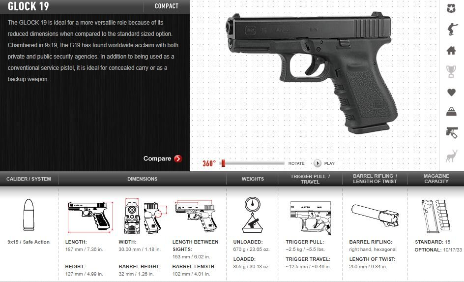This image from the Glock website is the same model as Jarrell's missing gun. (Source: us.Glock.com)