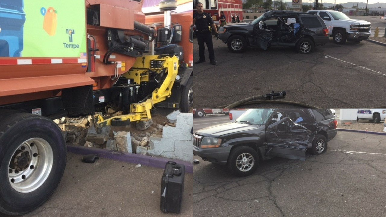 A City of Tempe garbage truck struck multiple vehicles injuring three children and one adult on Monday. (Source: Phoenix Fire and Medical Department)