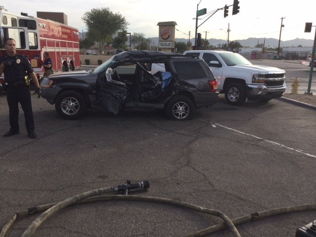 The truck continued eastbound and struck a Jeep across the intersection, which was waiting to proceed west. (Source: Phoenix Fire and Medical Department)