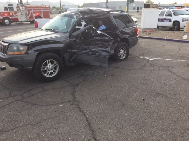 Four people inside of the Jeep were injured in the collision, including three children. (Source: Phoenix Fire and Medical Department)