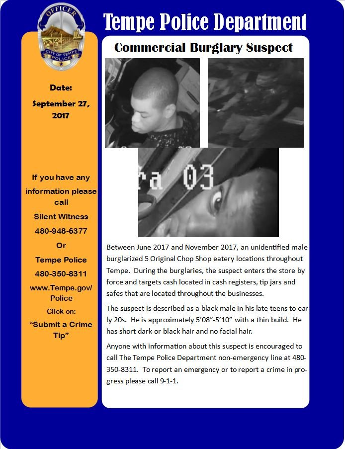 An unidentified black male burglarizedfive Original Chop Shop eatery locations throughout the Valley between June 2017 and November 2017. (Source: Tempe PD)