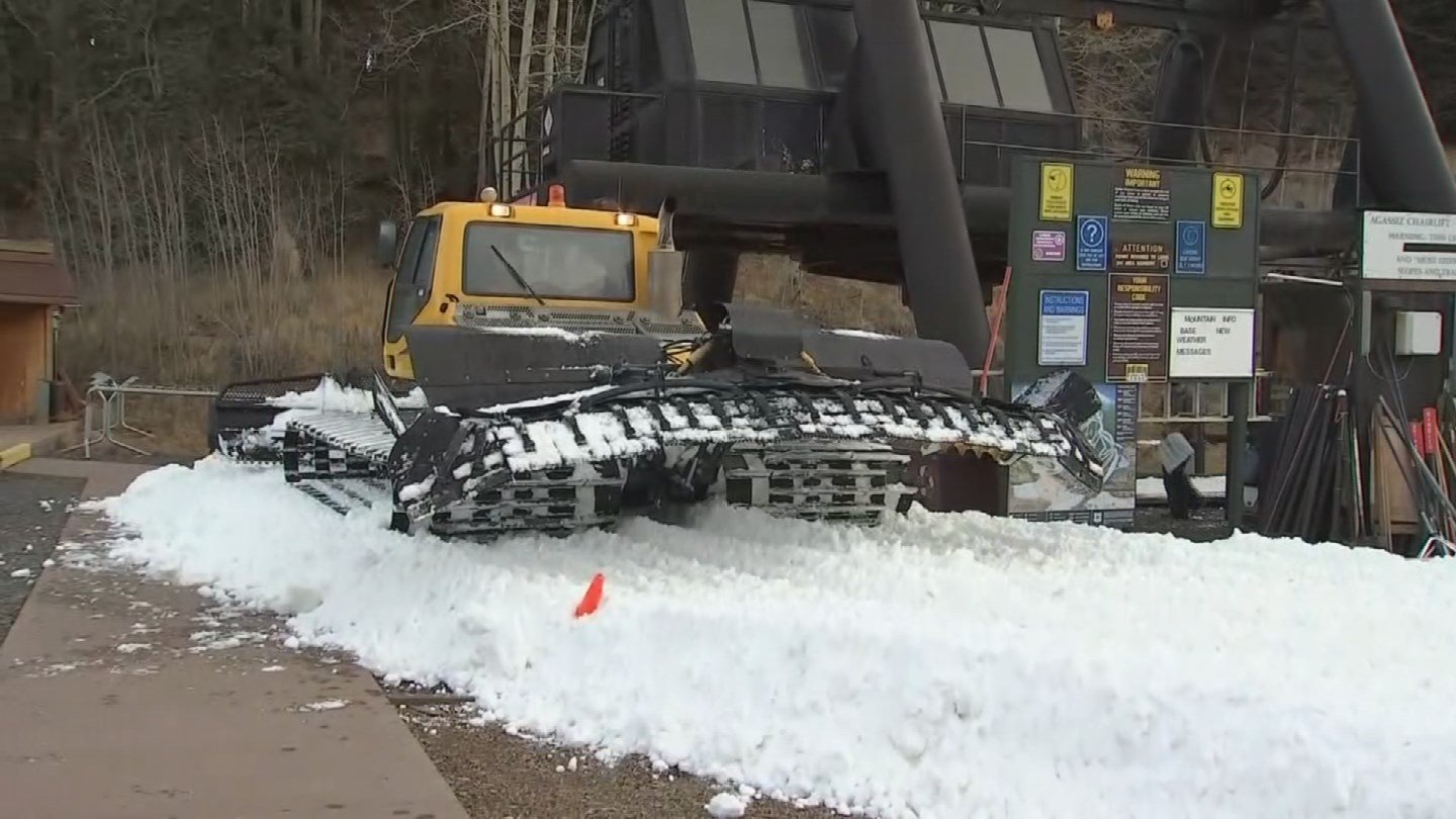In this image from Nov. 21, 2017 you can see part of a ski run created by artificial snow at Snowbowl in Flagstaff. (Source: 3TV/CBS 5)