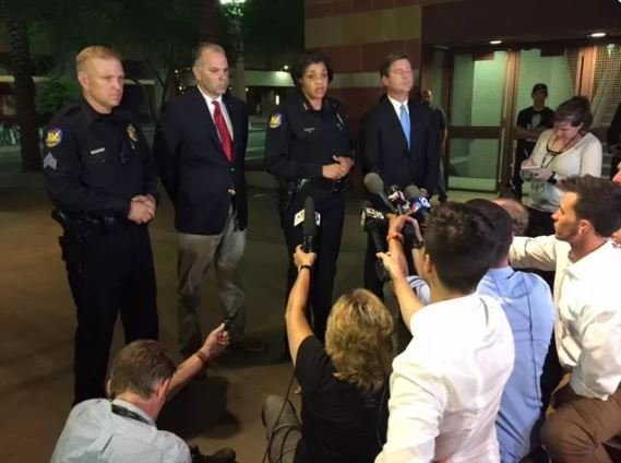 Phoenix city officials spoke about the unruly protest after the Trump protest in downtown Phoenix on Aug. 22. (Source: 3TV/CBS 5)