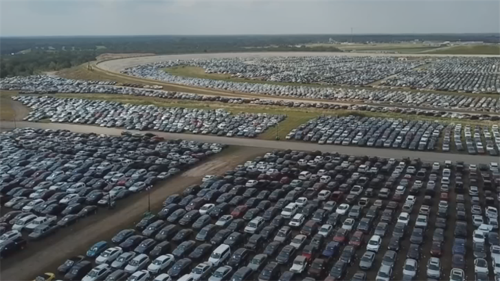 In Houston, most of the flooded vehicles were brought to Texas World Speedway. (Source: CNN)