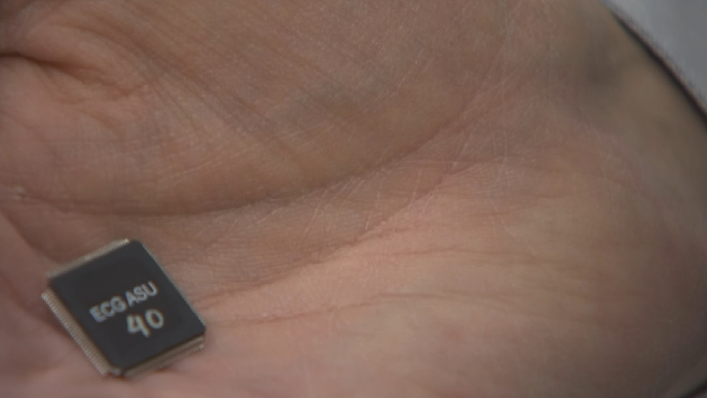 Jae-Sun Seo has come up with a tiny chip that can be put inside a wearable device like a Fitbit. (Source: 3TV/CBS 5)