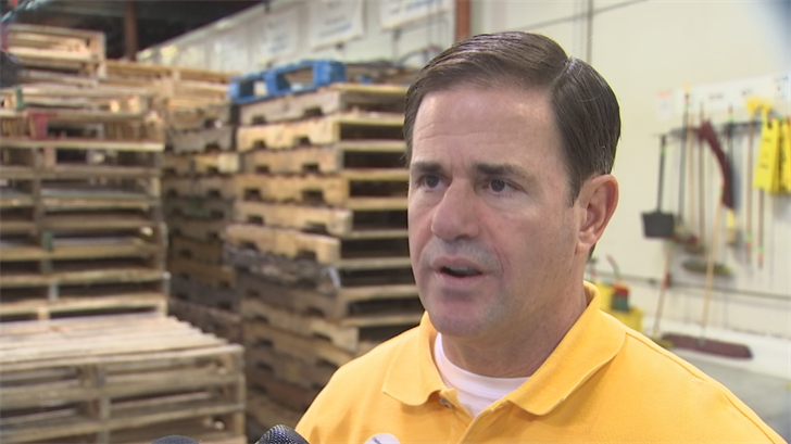 Gov. Doug Ducey speaks to reporters on Wednesday. (Source: 3TV/CBS 5)