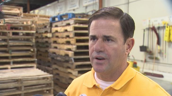 Gov. Doug Ducey speaks to reporters on Wednesday. (Source: 3TV/CBS 5)