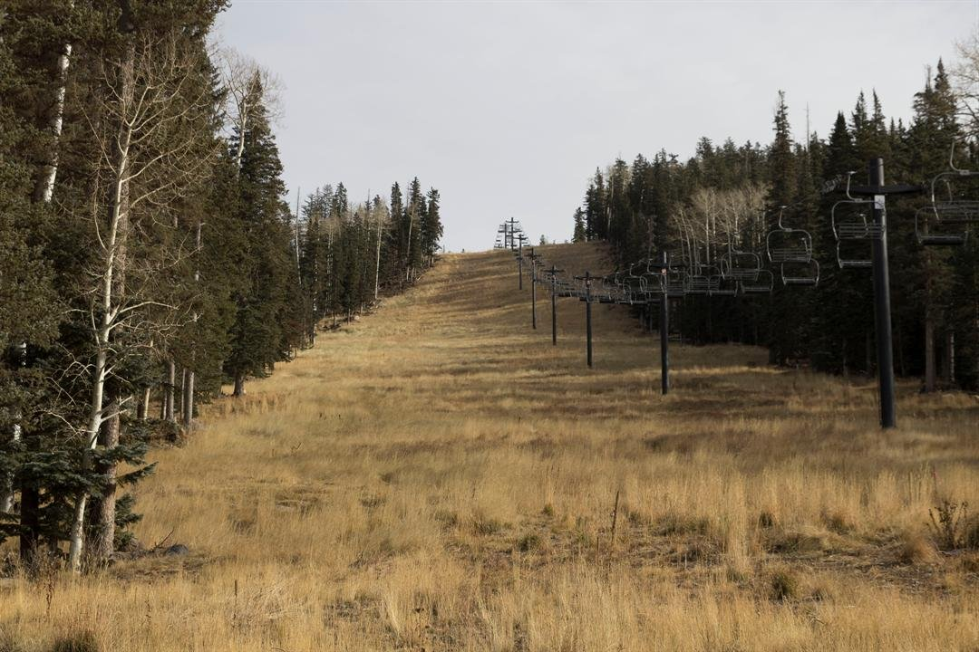 Most of the ski runs at Snowbowl are barren. Resort officials opened four of its 55 trails with man-made snow. (Photo by Kianna Gardner/Cronkite News)