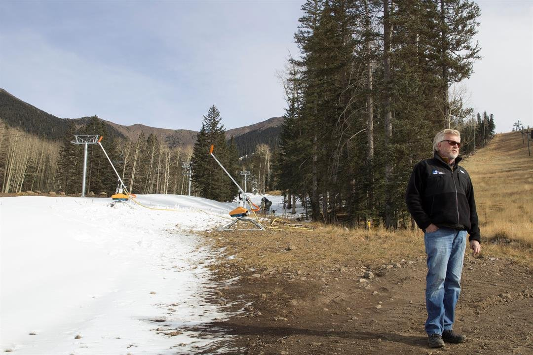 J.R. Murray, general manager of Snowbowl ski resort, said tsnow making machines guarantee an early start to the ski and snowboard season. (Photo by Kianna Gardner/Cronkite News)