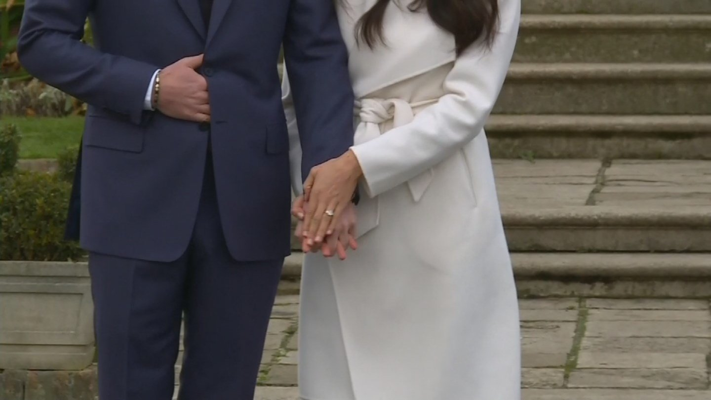 Prince Harry and Meghan Markle make their first appearance after announcing they are now engaged to be married in 2018. (Source: CNN)
