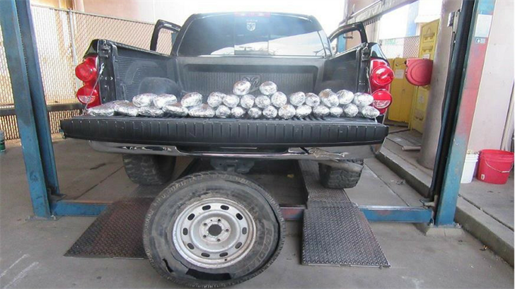 Nearly 40 pounds of drugs were found in a pick-up truck's spare tire, officers said. (Source: U.S. Customs and Border Protection)