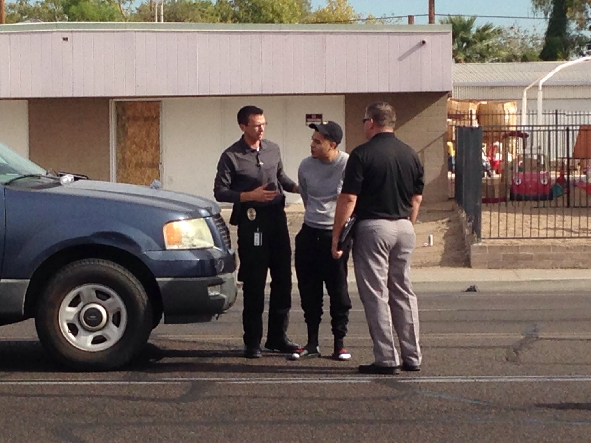 Police arrested the driver of the pickup truck who hit a woman and 3 children on Monday morning. (Source: 3TV/CBS 5)