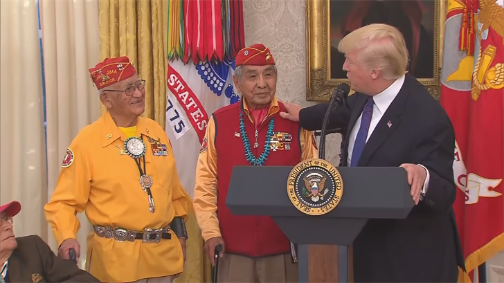 "Trump made a ""Pocahontas"" comment while honoring Navajo code talkers at the White House. (Source: CNN)"
