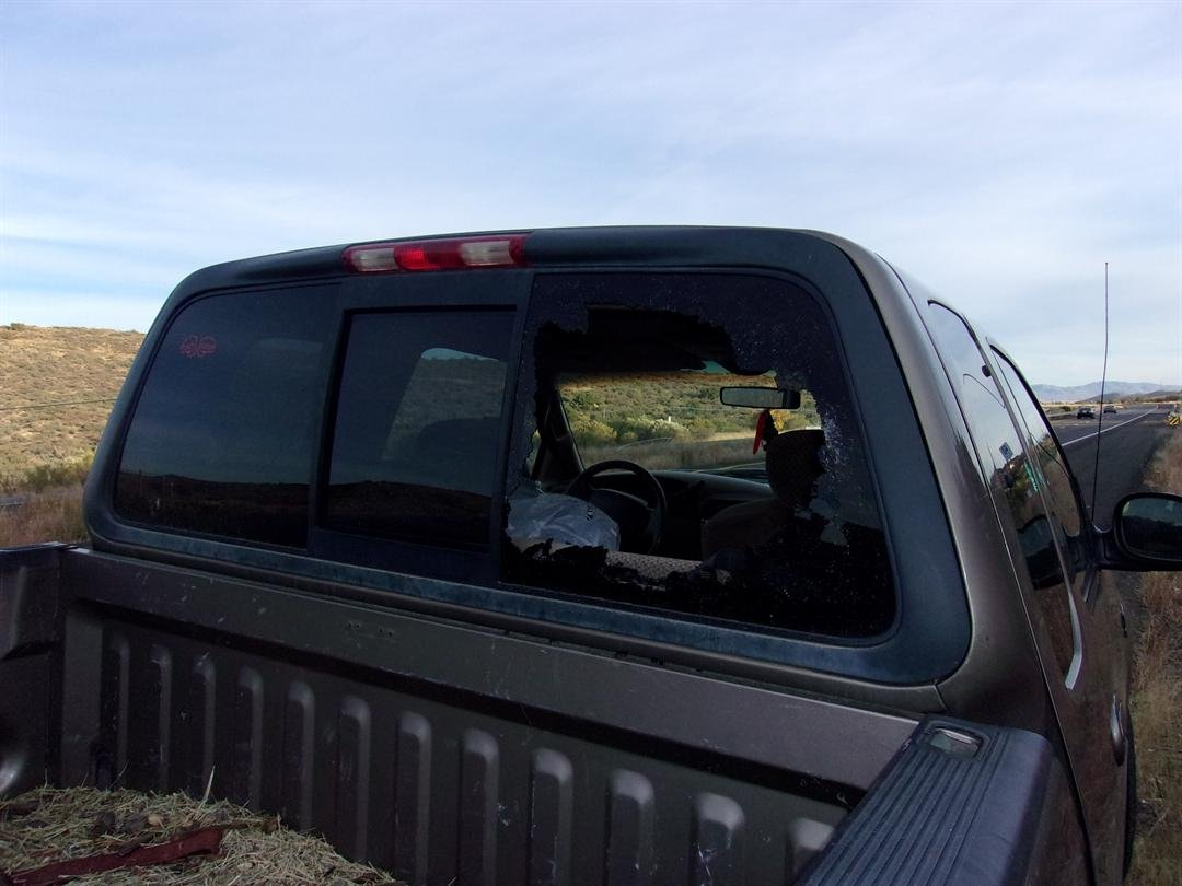 Deputies said Jones broke out the window of the truck and took items out of the vehicle. (Source: Yavapai County Sheriff's Office)