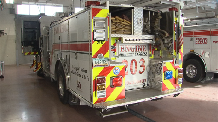 Engine 203 is the first to sport the new decals, sponsored by the Mesa Chamber of Commerce. (Source: 3TV/CBS 5)