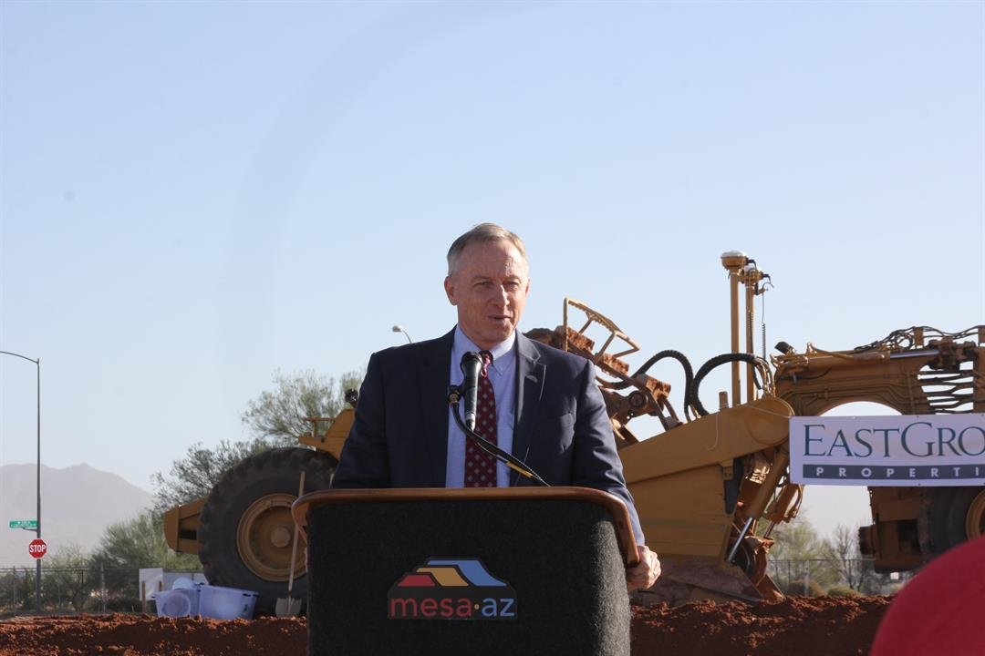 Mayor John Giles speaks at a groundbreaking ceremony for a new industrial facility on Nov. 28, 2017. (Source: City of Mesa)