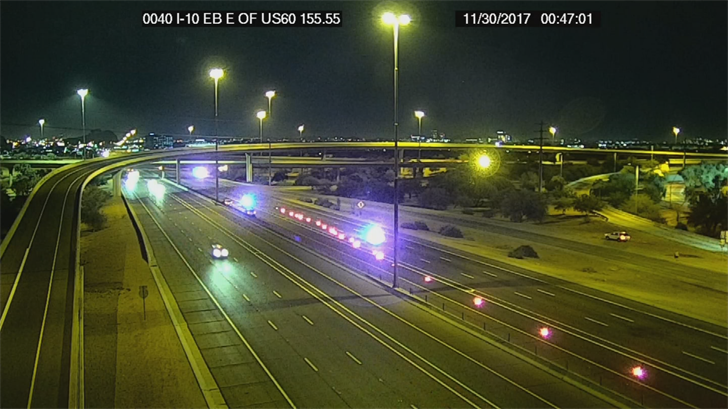 Westbound I-10 was closed for several hours near Baseline Road. (Source: ADOT))
