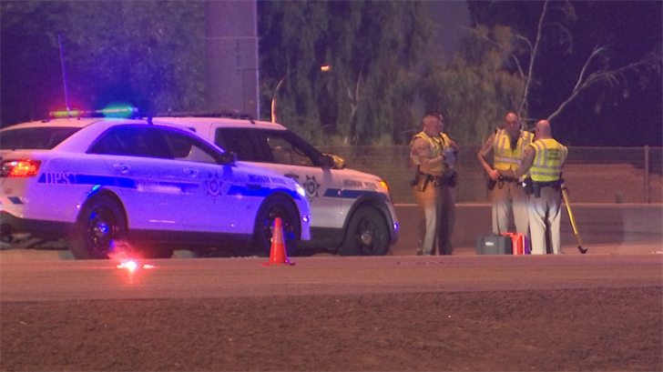 The Arizona Department of Public Safety closed a part of westbound Interstate 10 in Tempe while troopers investigated a deadly crash involving a pedestrian. (Source: 3TV/CBS 5)