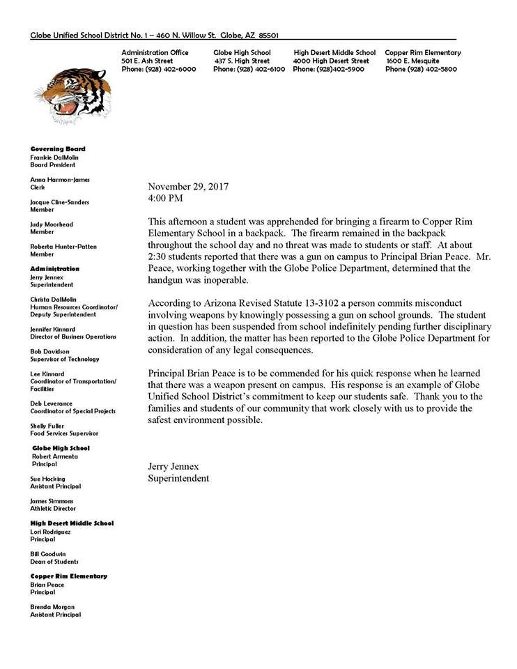 This is the letter sent to parents on Wednesday. (Source: Globe Unified School District)