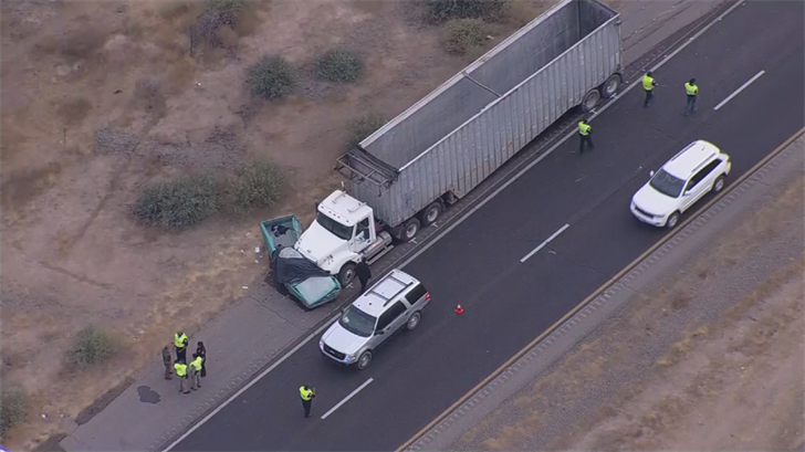Police said the pickup truck driver lost control, went into the media, rolled over and ended up in the northbound lanes. (Source: 3TV/CBS 5)