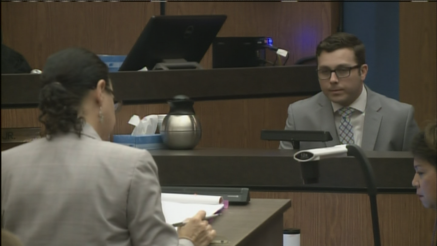 Prosecutor Susie Charbel went back and forth with Brailsford, questioning his repeated claims that he did not want the shooting of Daniel Shaver to happen. (Source: Pool)