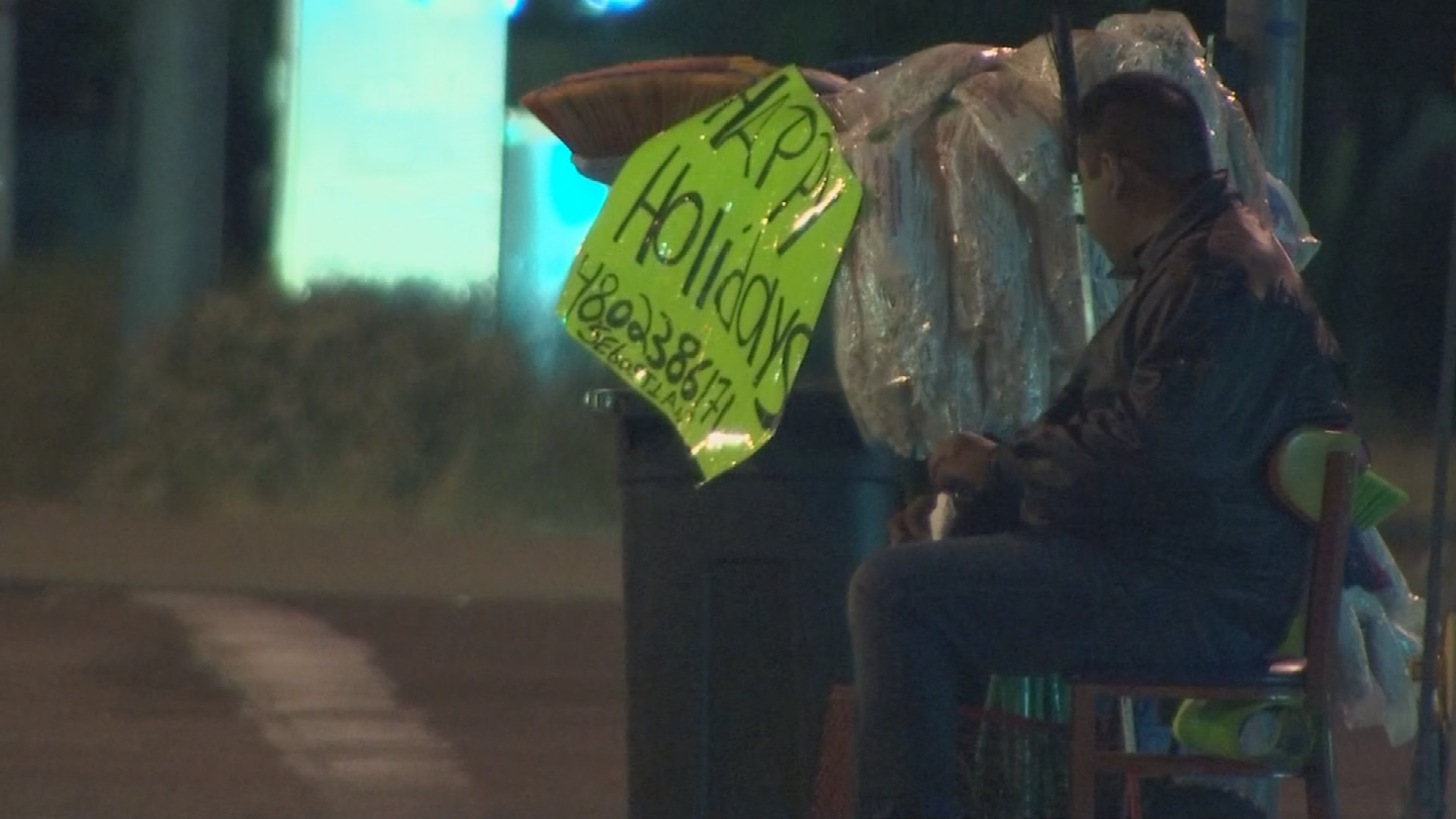 Sebastian Ibañez is blind and sells brooms and mops on Valley street corners late into the night.(Source: 3TV/CBS 5)