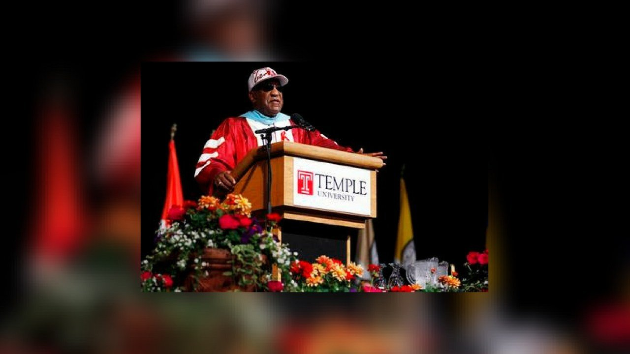 Comedian Bill Cosby speaks at Temple University's commencement in Philadelphia. (Source: The Associated Press)