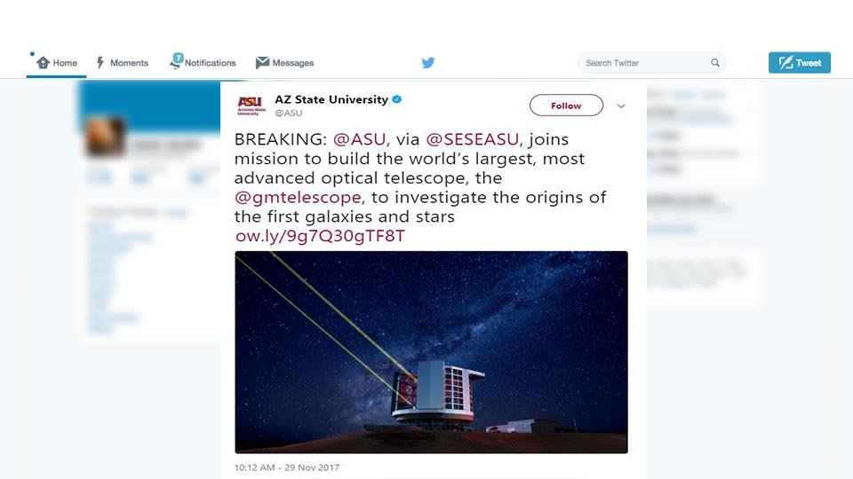 Arizona State University is joining an international consortium building in building the world's largest optical telescope in Chile. (Source: ASU/Twitter)